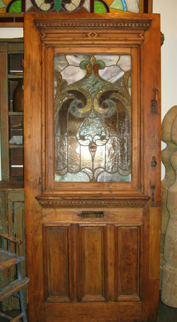 Collectivator Pine Door With Stained Glass Panel Sold